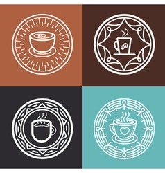 Coffee mug on round emblem vector