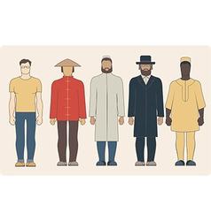 Different nationalities men vector