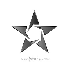 Metal star on white background vector