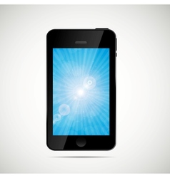 Mobile phone with nature screen vector
