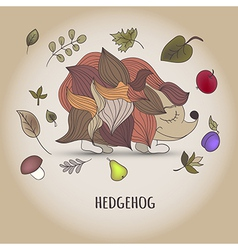 Hedgehog with fruit and leaves vector