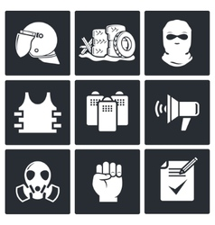 Riots in the street icon collection vector