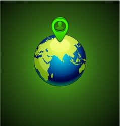 Green earth with a pins location person vector
