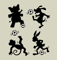 Animal playing soccer silhouettes vector