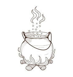 Witch kettle with potion vector
