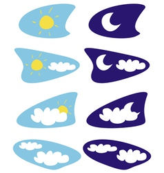 Sun and moon isolated weather icons clip art vector