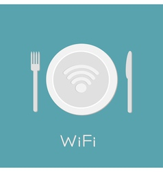Plate with wireless network wifi icon inside knife vector