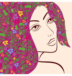 Women head with floral hair vector