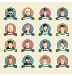 Set of colorful profession people flat style icons vector