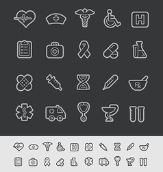Medical icons black line vector