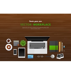 Workplace with isolated objects vector