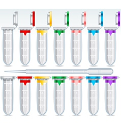 Eppendorf opened and closed multi colour set vector