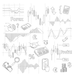 Set of business doodle elements forex market hand vector