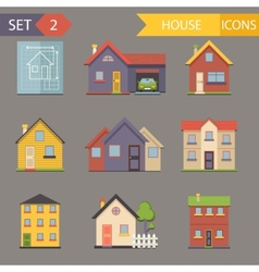 Retro flat house icons and symbols set vector