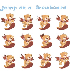 Jump on a snowboard vector