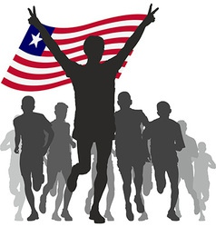 Winner with the liberia flag at the finish vector