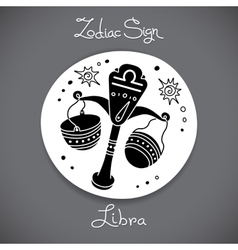 Libra zodiac sign of horoscope circle emblem in vector