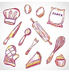 Kitchen accessories doodle vector