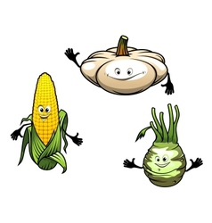 Pumpkin corn and turnip cartoon vegetables vector