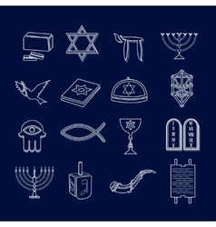 Judaism icons set outline vector