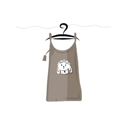 Top on hangers with funny sheep design vector