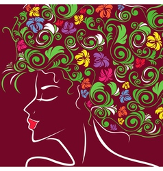 Women head profile with floral hair vector