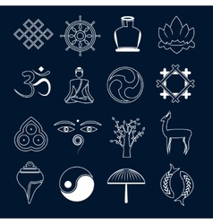 Buddhism icons set outline vector