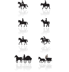 Horse or pony symbol set vector