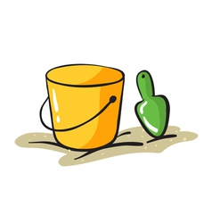 Yellow bucket and scraper vector