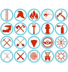 Set of firefighters icons vector