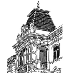 Drawing of lviv ukraine historical building vector