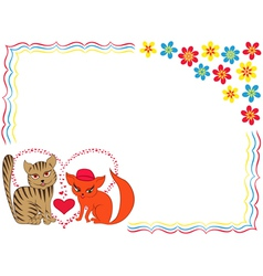 Enamoured cat and kitty on valentine greeting card vector