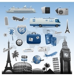 Travel and vacations icons set elements vector