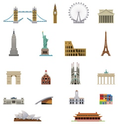 Landmark icon set vector