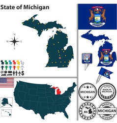 Map of michigan vector