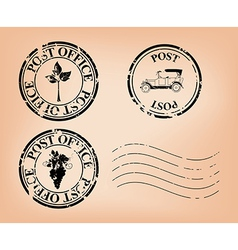 Set - grungy post stamps vector