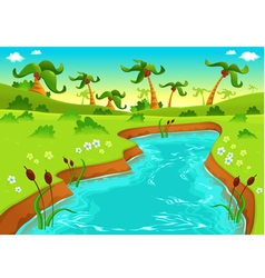 Jungle with pond vector