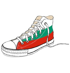 Hand draw modern sport shoes with bulgaria flag vector