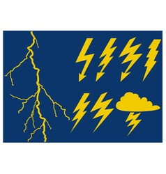 Collection of lightning symbols vector