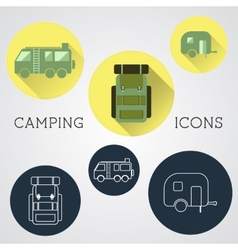 Set of outdoor adventure icons badges and vector