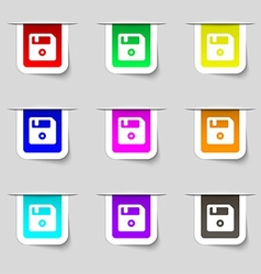 Floppy icon sign set of multicolored modern labels vector