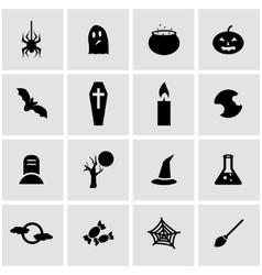 Black halloween icon set vector