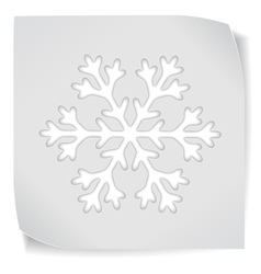 Paper sticker with snowflacke vector