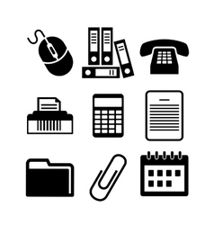 Set of black and white office icons vector