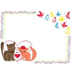 Romantic cat and kitty on valentine greeting card vector