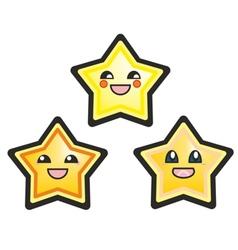 Kawaii manga stars isolated on white vector