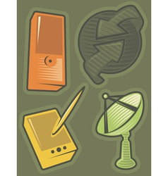 Green icons for communications vector