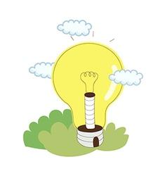Light bulb with cloud vector