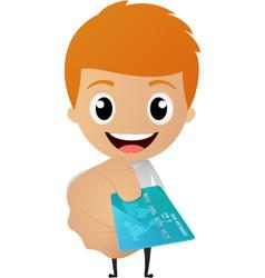 Cartoon businessman give a credit card vector