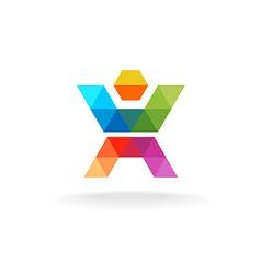 Color human figure logo vector